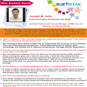Training at Blue Ocean and certification by the American Purchasing Society