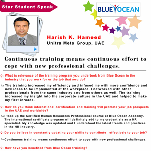 Continuous training means Continuous effort to cope with new professional challenges,Harish K. Hameed