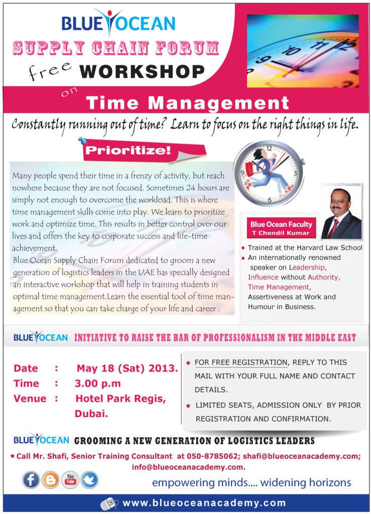Supply Chain Free Worlshop on Time Management