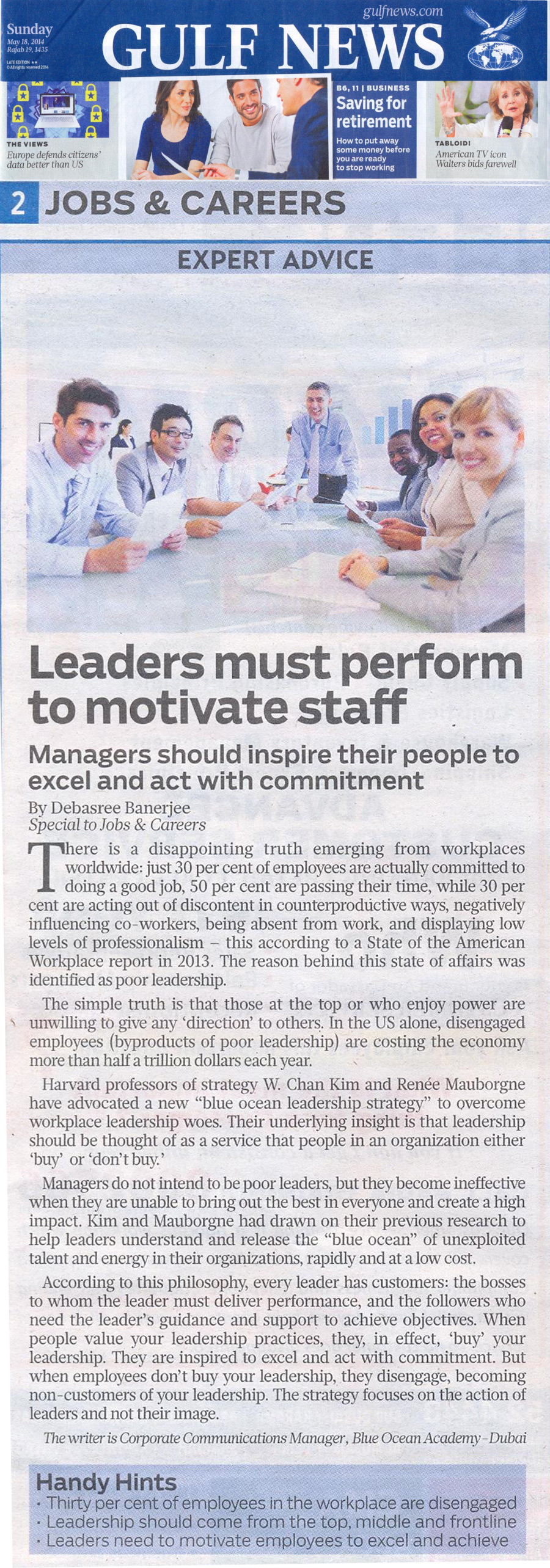 Leaders must perform to motivate staff