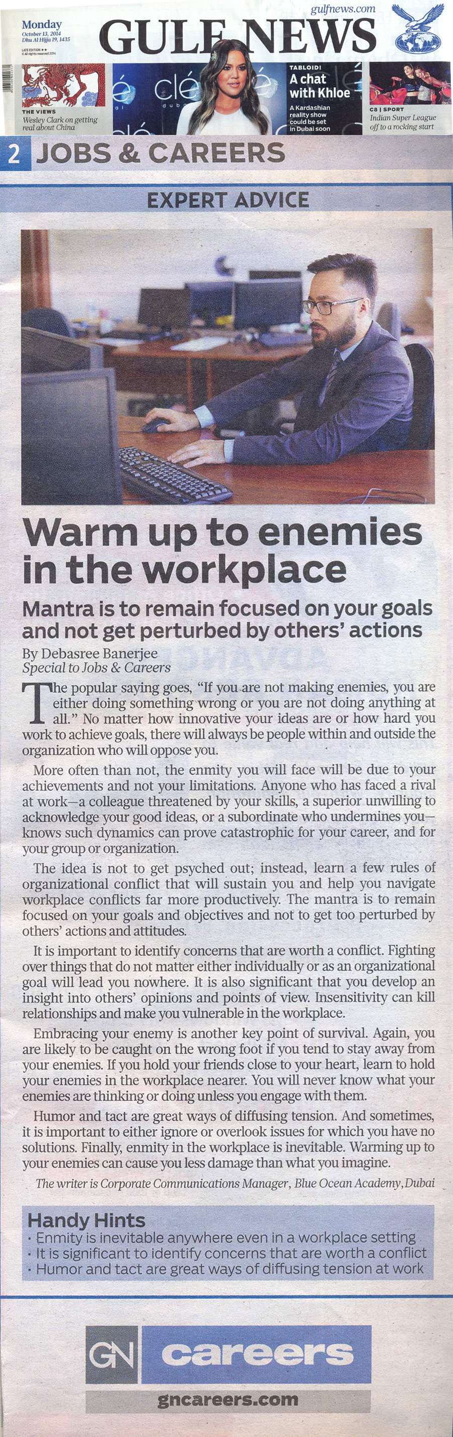 Warm up to enemies in the workplace