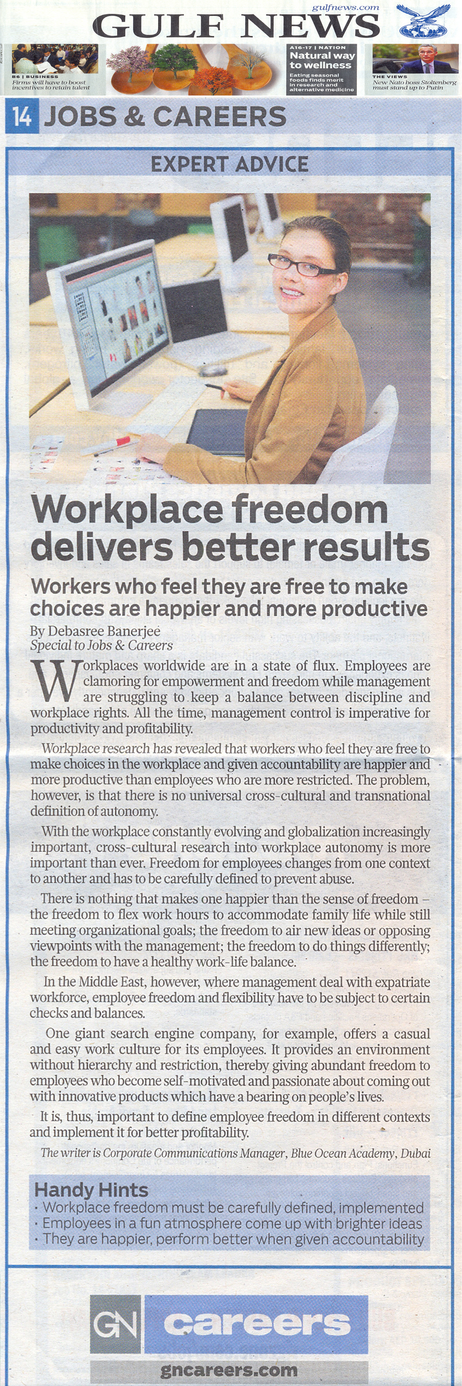 Workers who feel they are free to make choices are happier and more productive