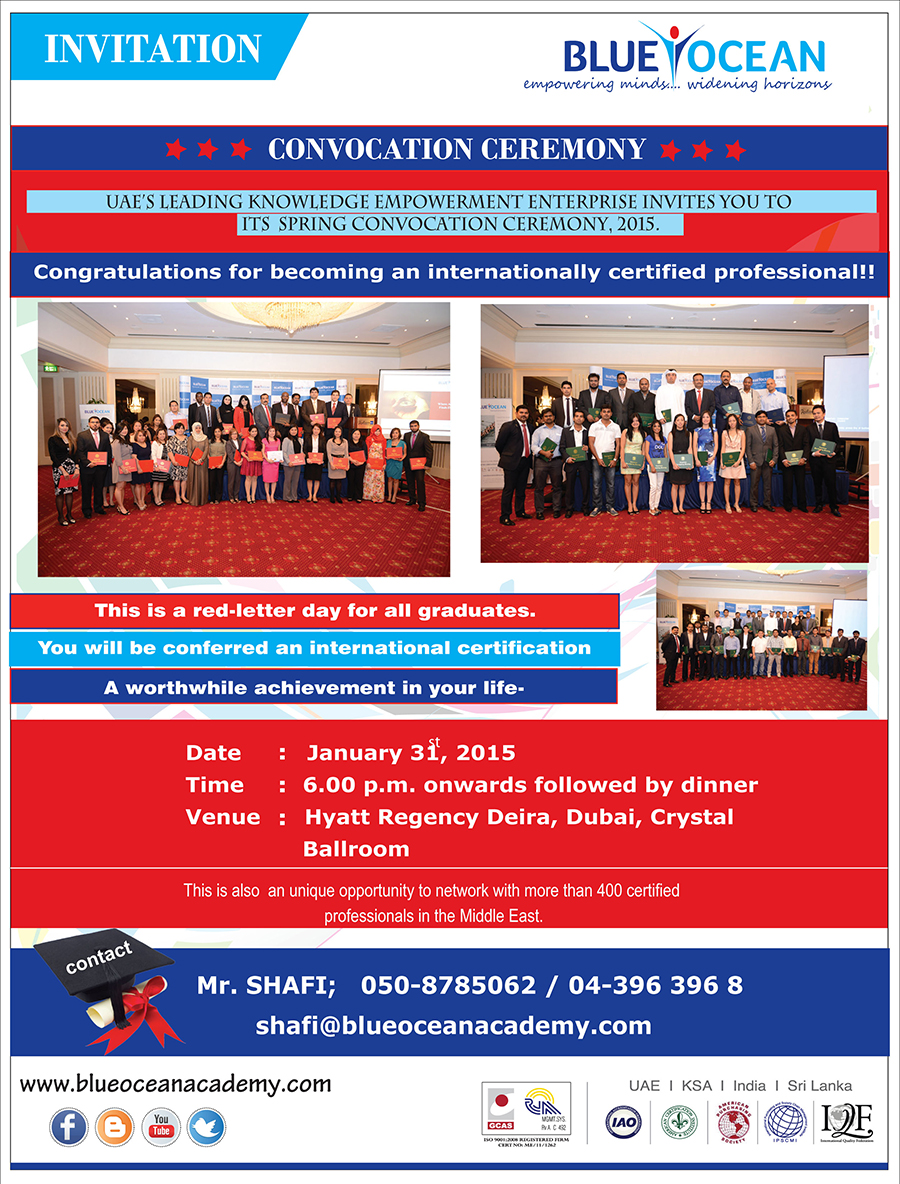 Don't miss out on Blue Ocean's Spring Convocation ceremony, January 2015..