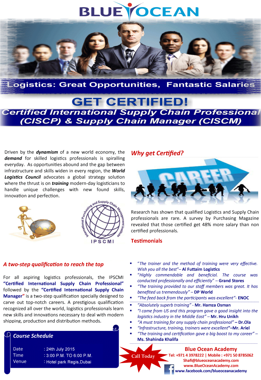 Certified International Supply Chain Professional (CISCP) & Supply Chain Manager (CISCM)