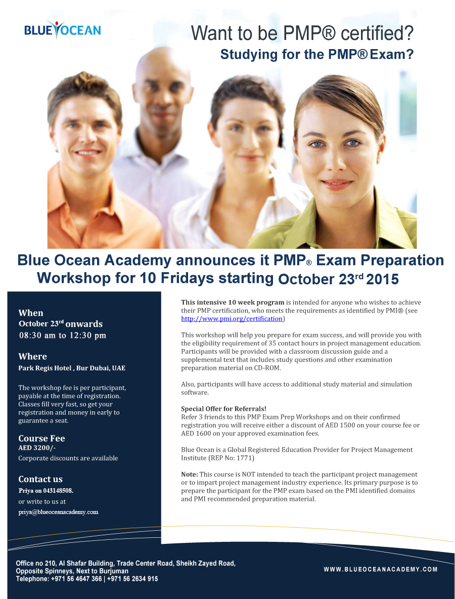 Blue Ocean Academy announces it PMP Exam Preparation