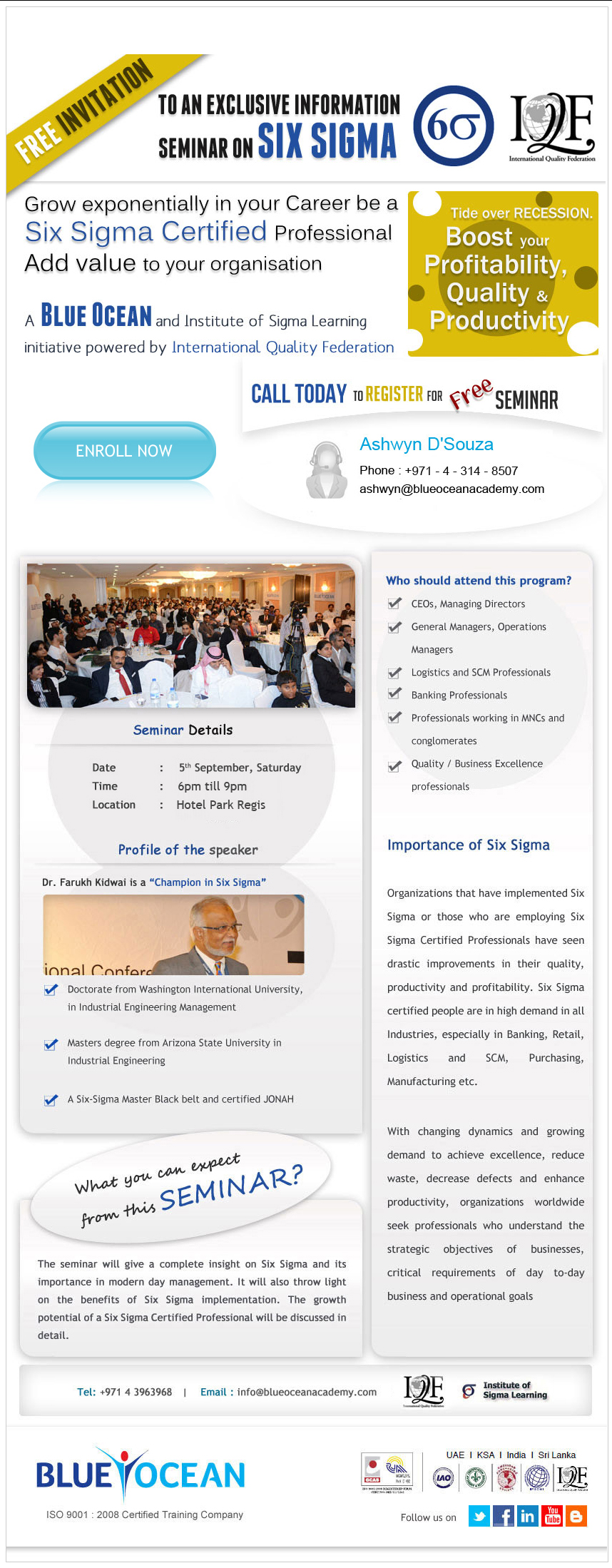 To An Exclusive Information Seminar On Six Sigma
