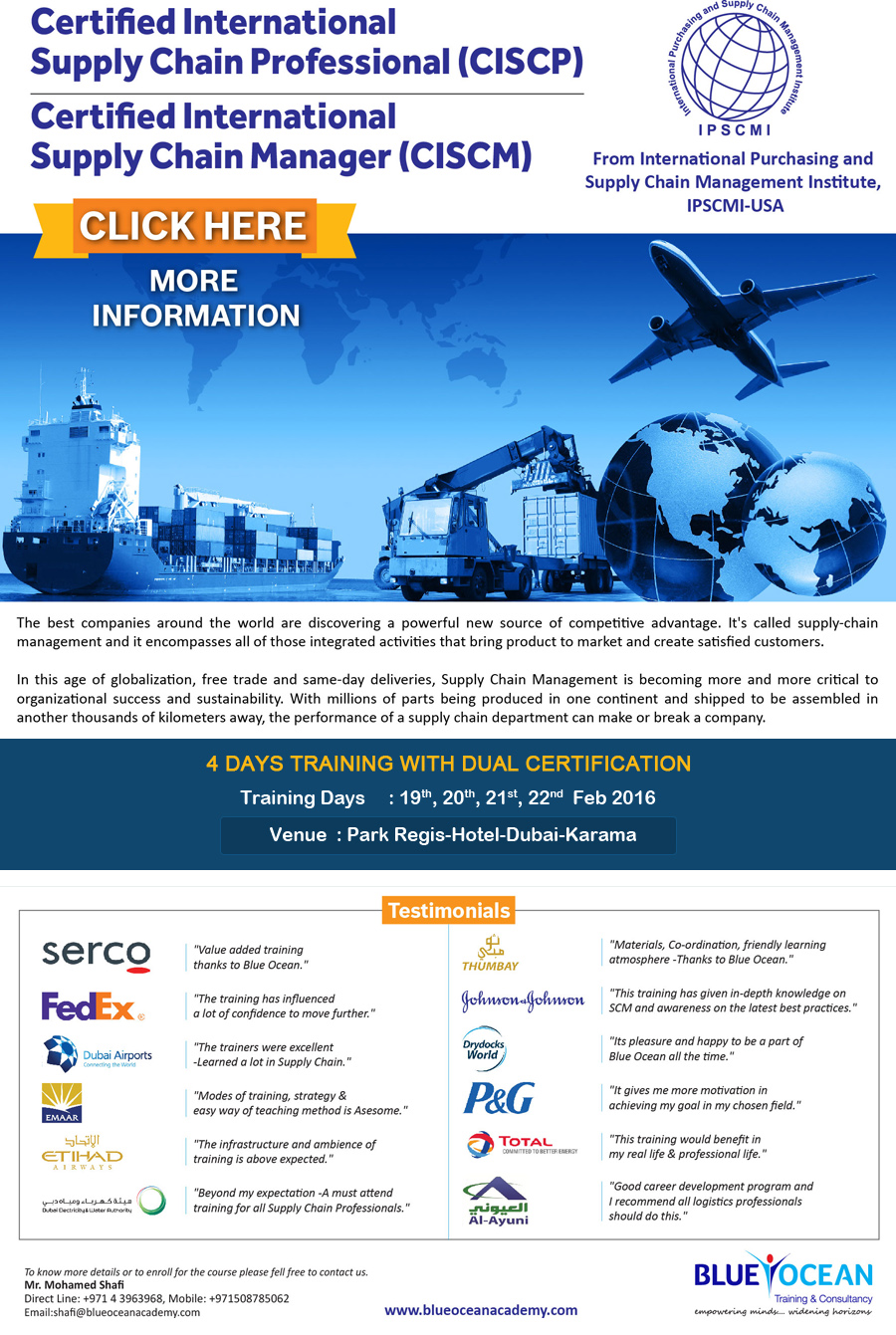 Certified International Supply Chain Professional (CISCP)