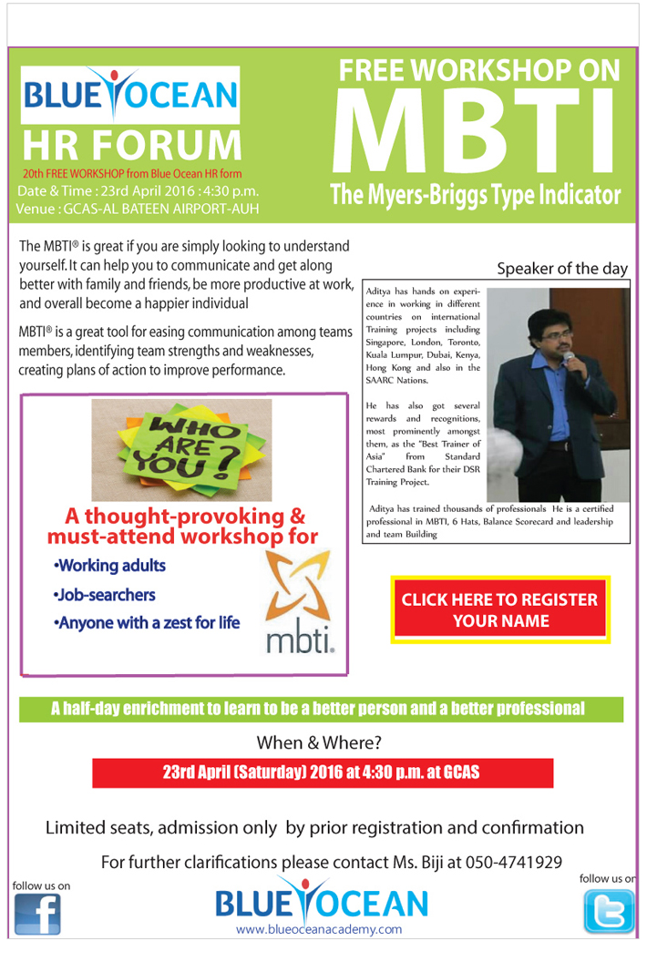 FREE WORKSHOP ON MBTI