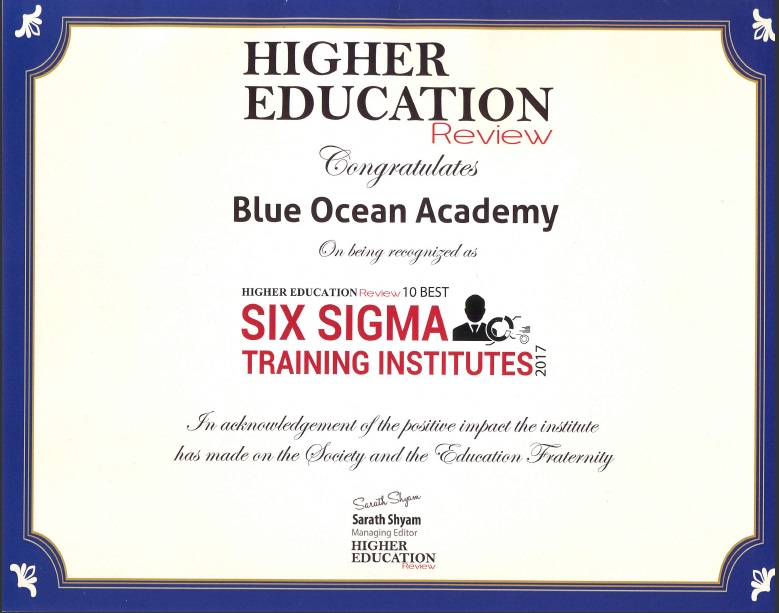 Blue Ocean Awarded As One Of The Best Institutes for Six Sigma