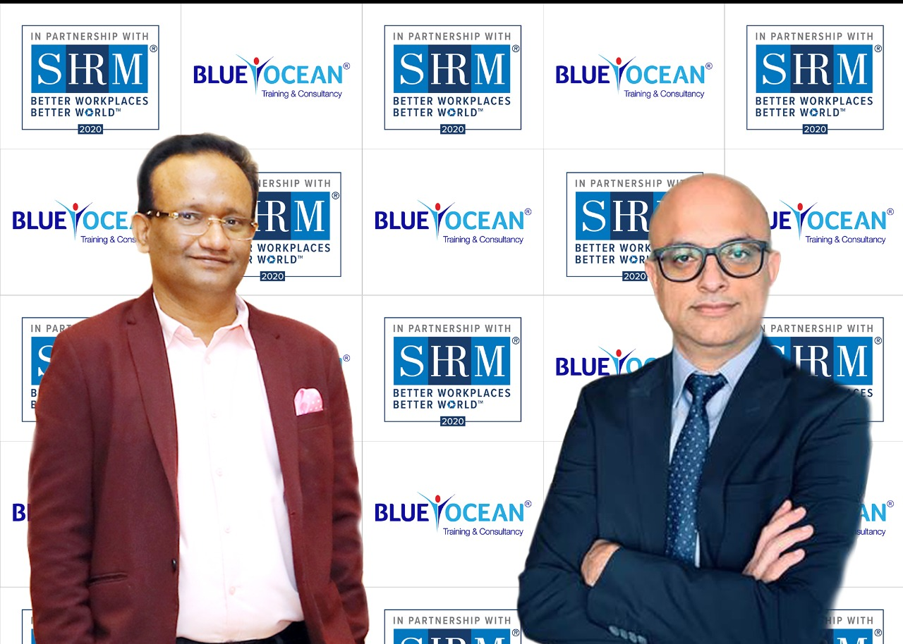 Dr Sathya Menon, CEO of Blue Ocean Academy (left) and Vivek Arora, Executive Director and Business Head MENA of SHRM